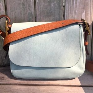 Fossil vintage robin egg blue leather crossbody